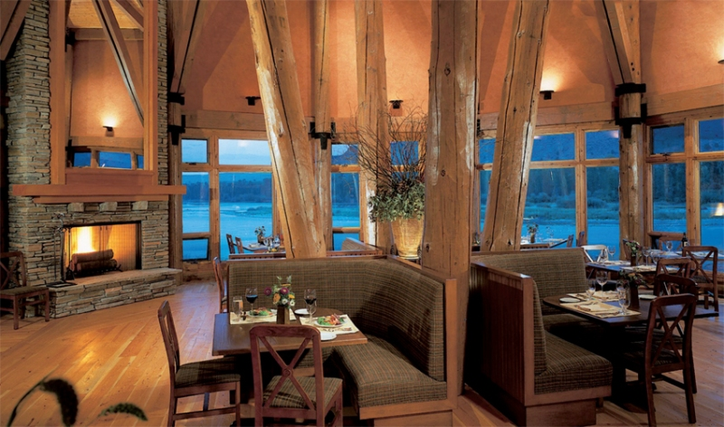 Lodge dining with views of the river and beyond