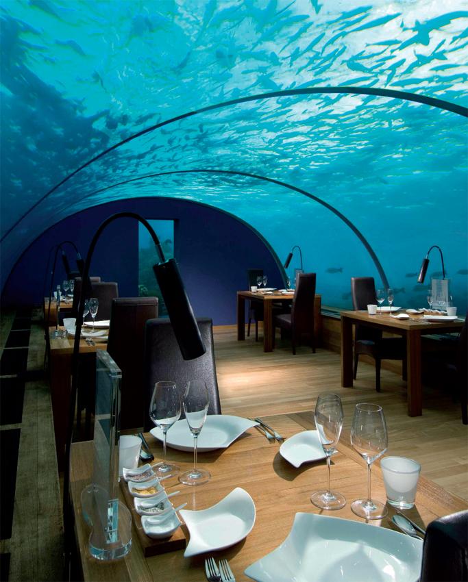 Underwater dining at Ithaa Undersea Restaurant, Maldives