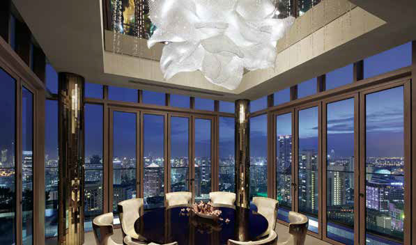 The Ritz-Carlton Residences, Singapore, Cairnhill A Lasvit piece hangs as the centrepiece in the dining area