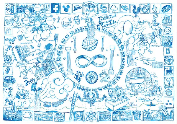 Josh Knowles - (Sketch for) Industrial Dream Mandala, Lithograph with hand finish