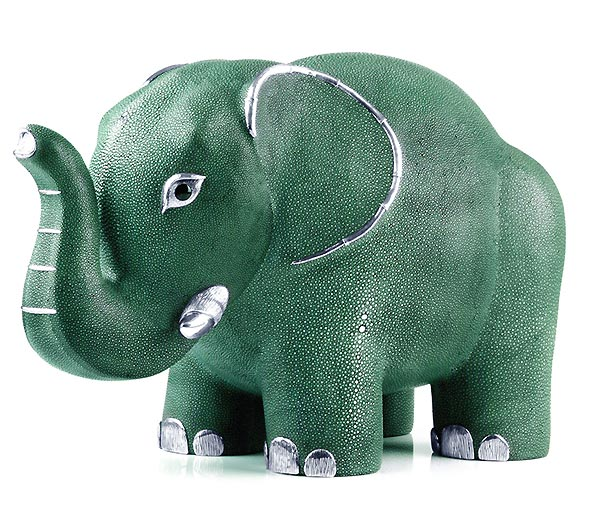 This galuchat (stingray leather) elephant stool has a touch of silver sterling to make it shine