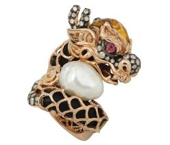 Dragon Ring - A key symbol of Chinese mythology, this dragon features diamonds, citrine and pink tourmaline