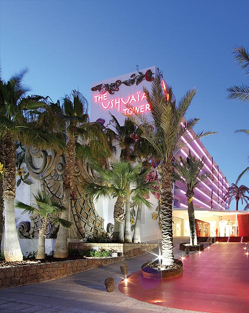 The Ushuaia Tower Hotel with its poolside stage is a new concept on Ibiza's Playa d'en Bossa beach