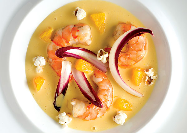 Pierre Gagnaire's shrimp with gaya and popcorn