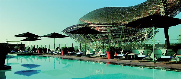Frank Gehry-designed fish on the seafront at the Hotel Arts, Barcelona