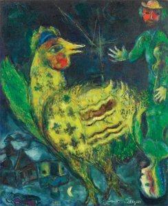 Marc Chagall,Le coq sur fond Noir, 1968
