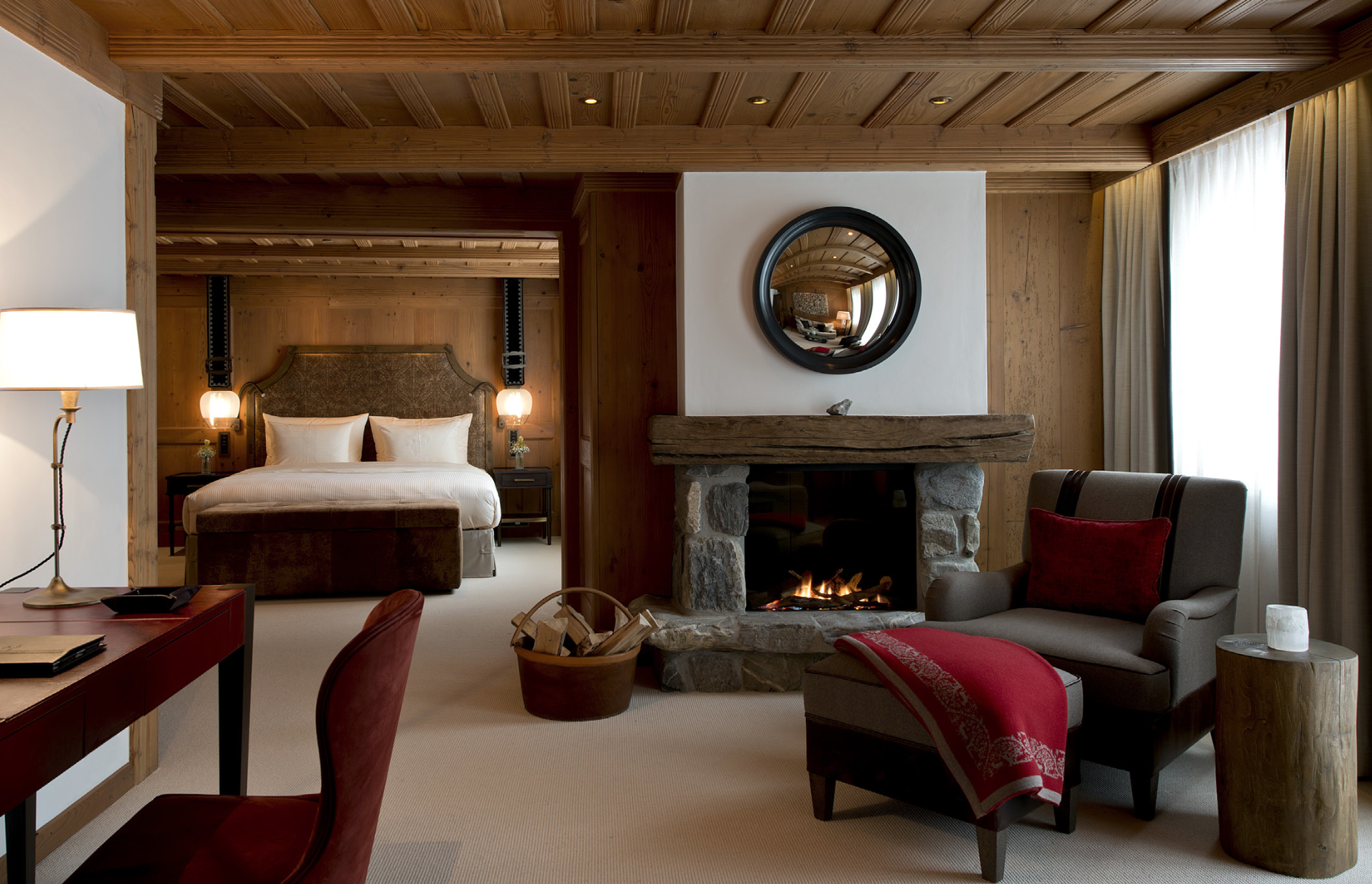 Suite Dreams: Swiss artisans have created the interiors at The Alpina, using local stone and period woodwork