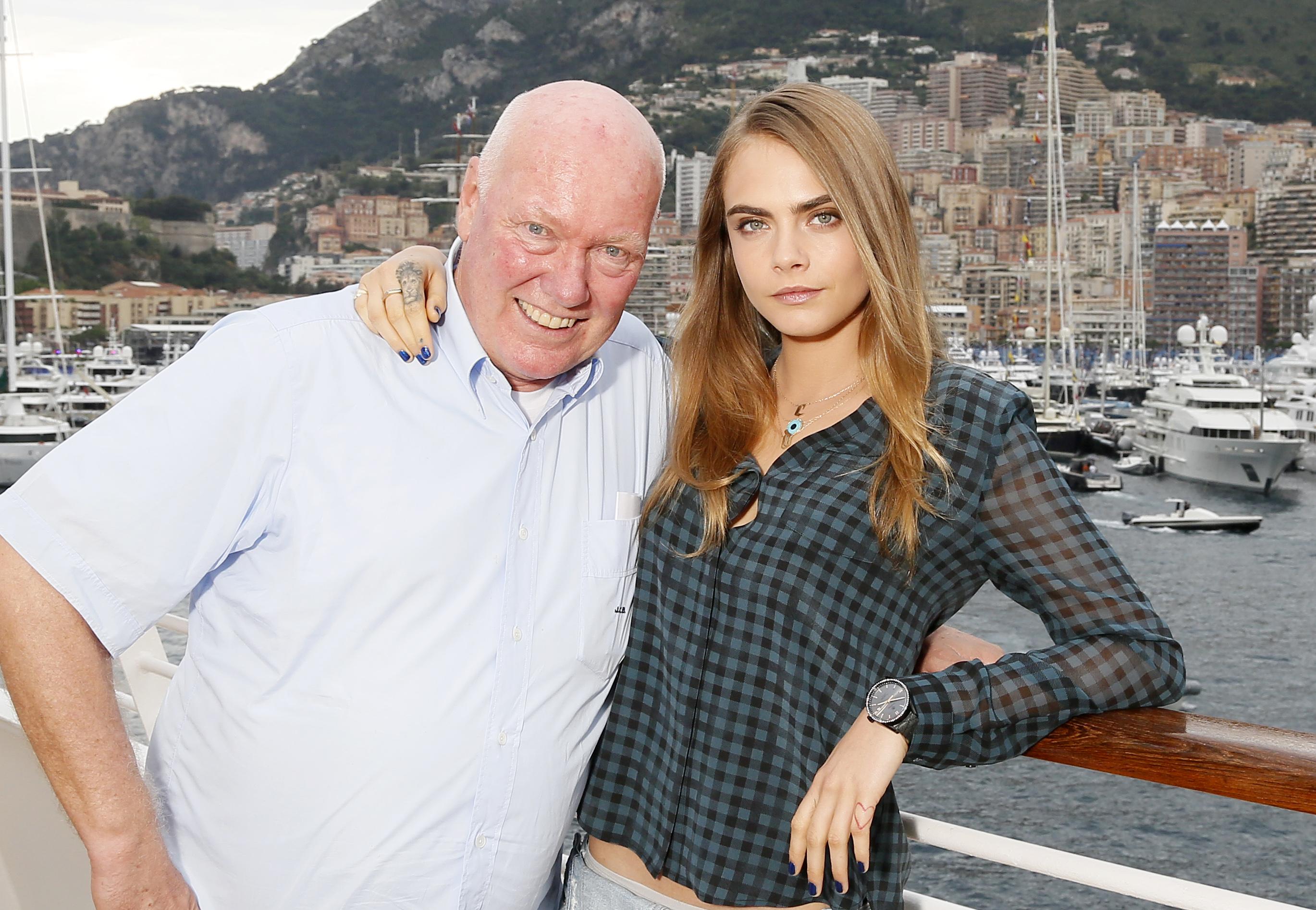 Model Cara Delevinge with Jean Claude Biver in Monaco