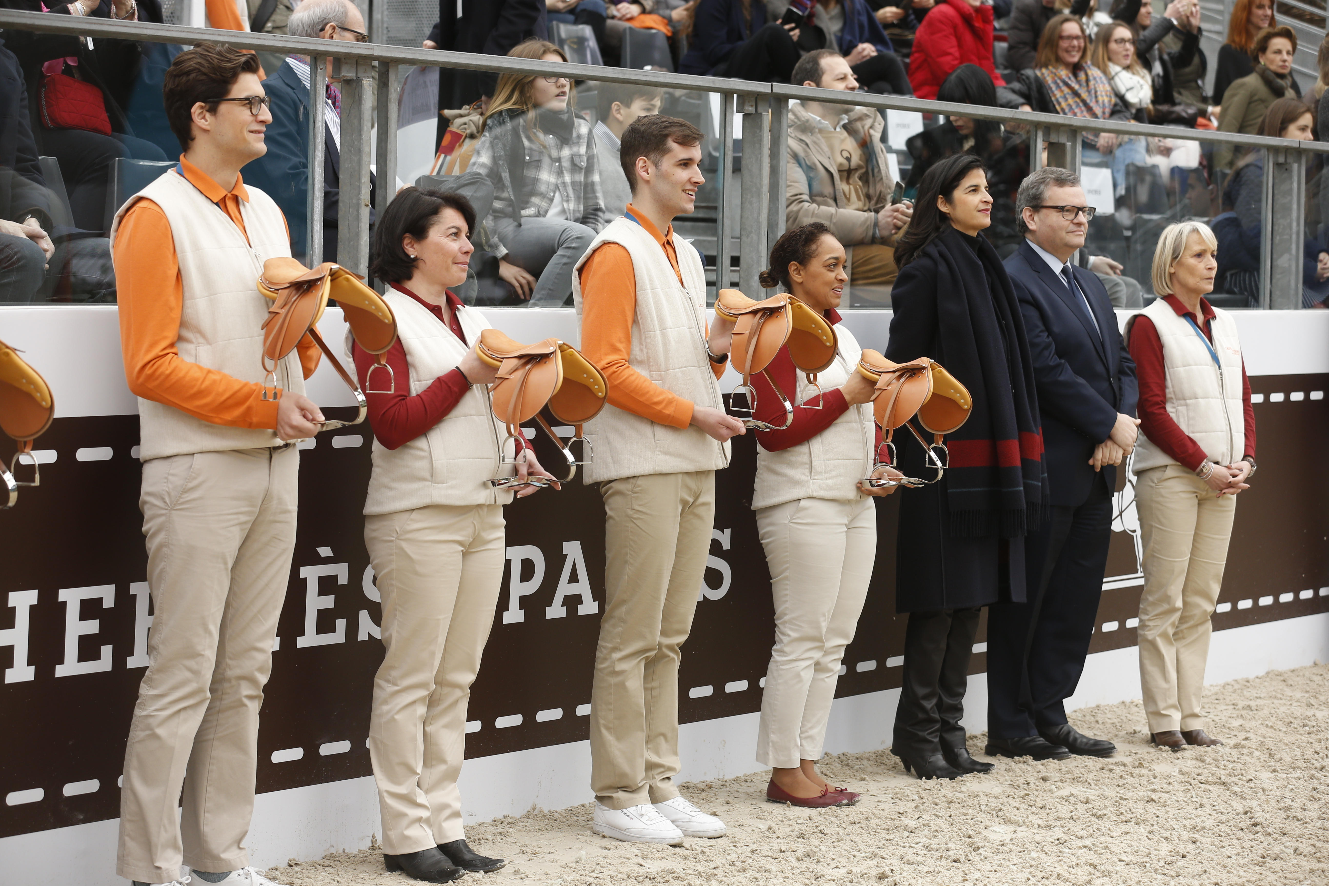 Winners at Saut Hermes are awarded prizes
