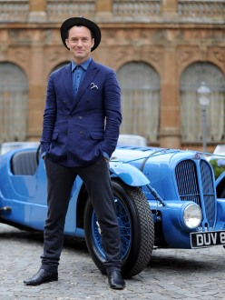 Jude Law pictured with classic car for Johnnie Walker Blue Label's short film