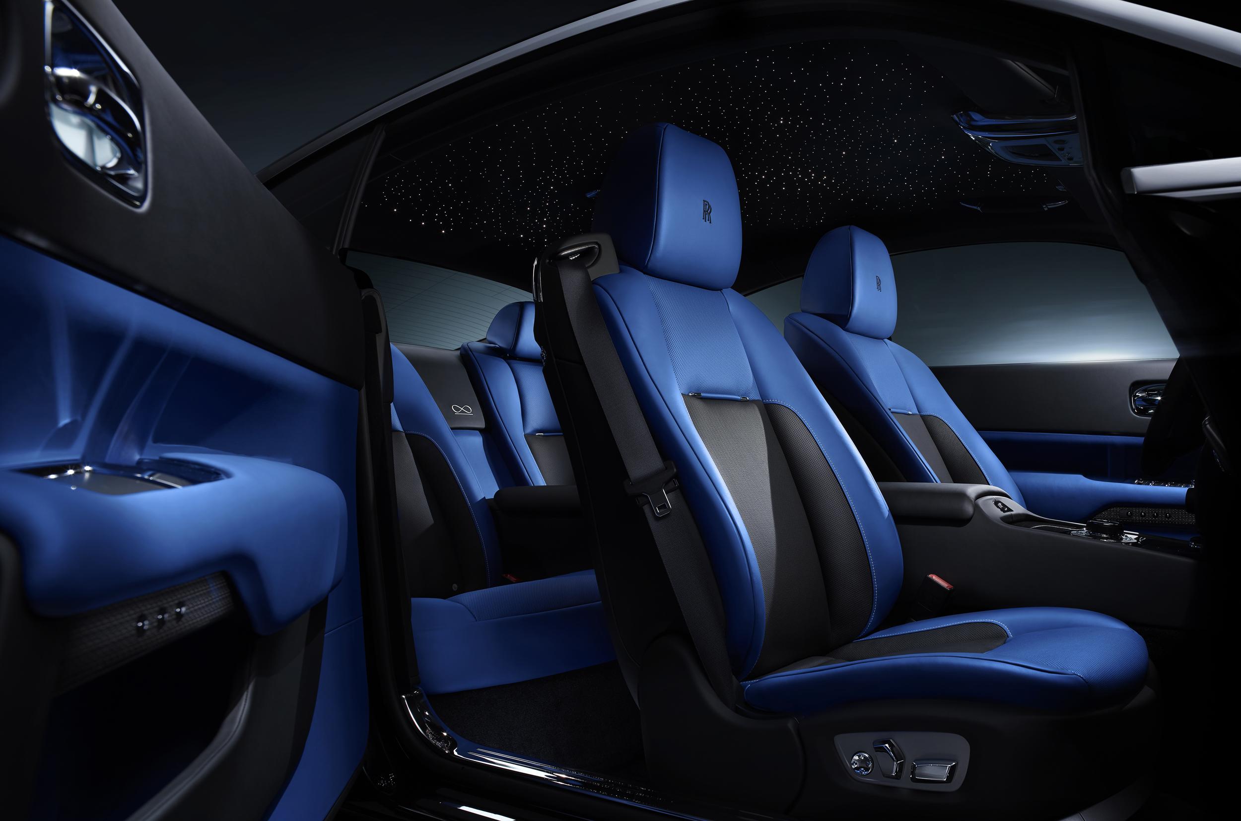 Dark interiors of the Rolls Royce Wraith