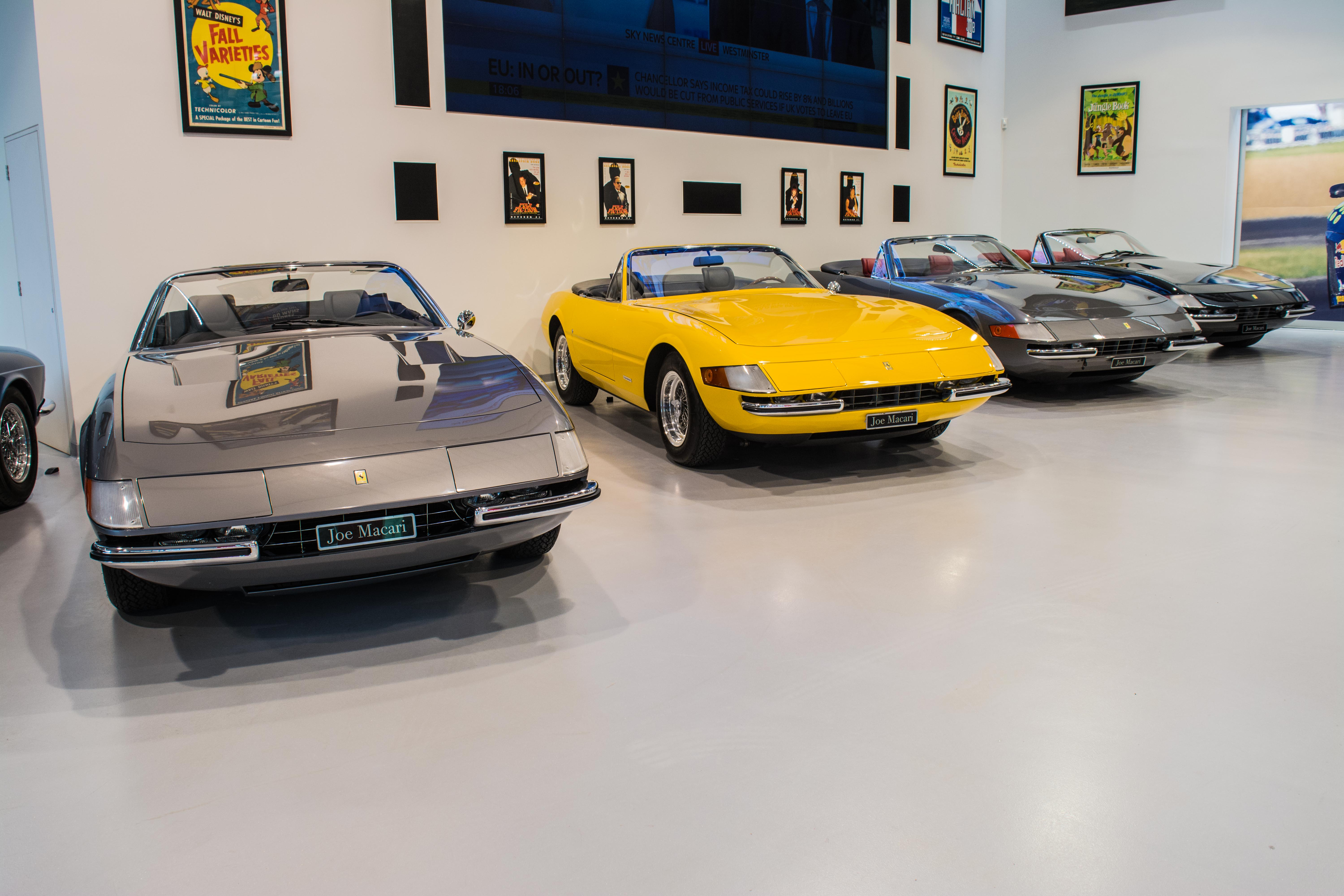 Ferrari Daytona Sypders pictured in the Joe Macari showroom