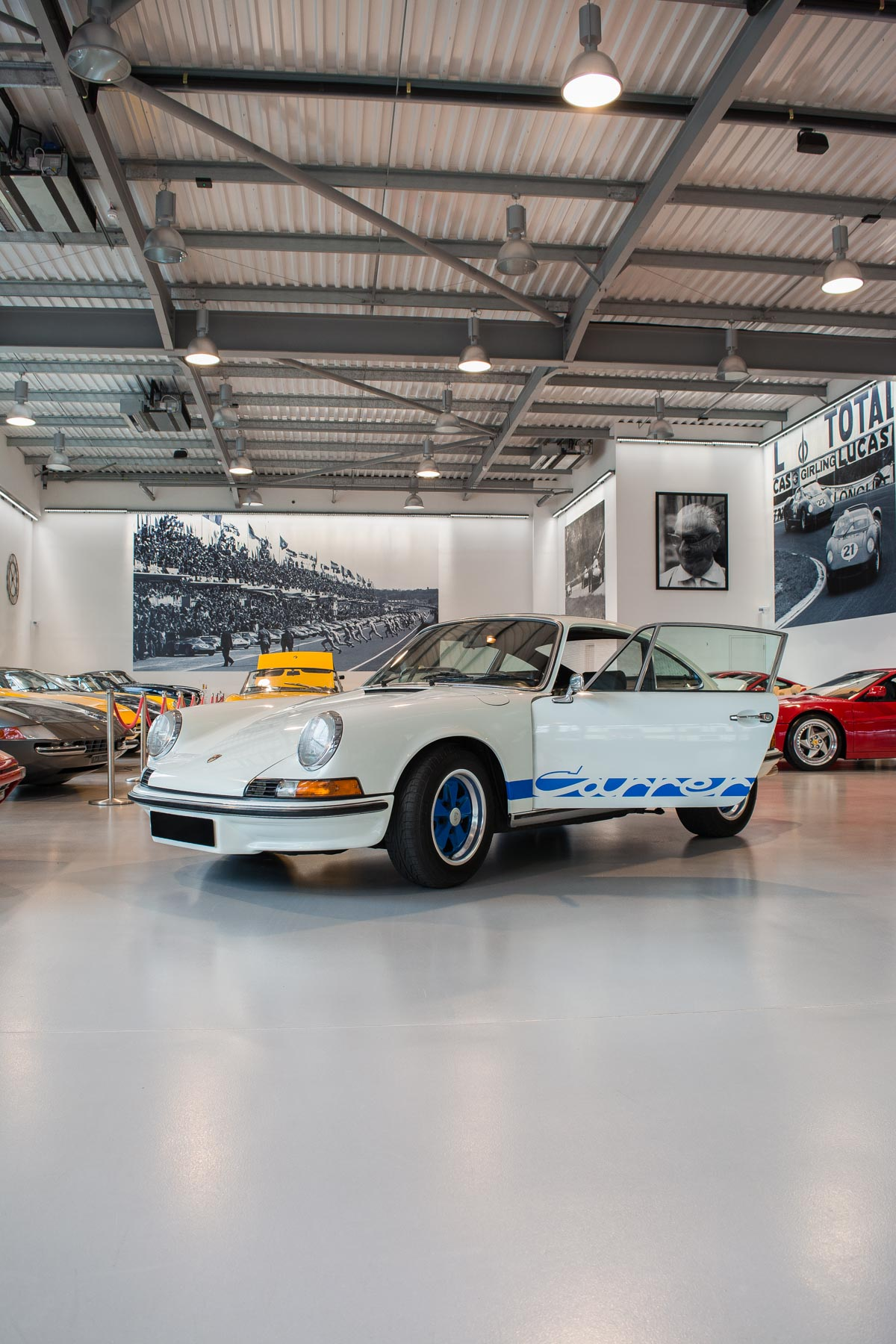 Porsche Carrera RS pictured in Joe Macari showroom